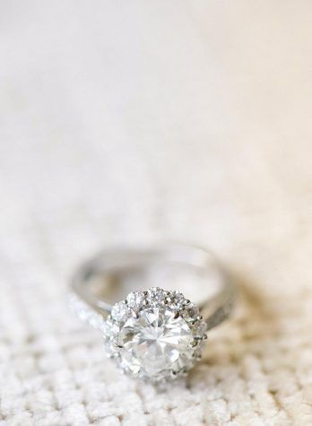 Fabulous pave diamond engagement ring from preppy pink wedding inspiration from DC Wedding venue constitution by