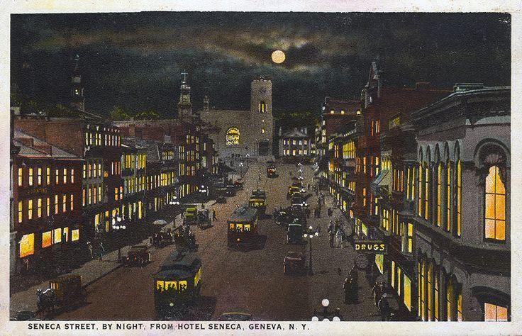 Seneca St., By Night, From Hotel Seneca, Geneva NY