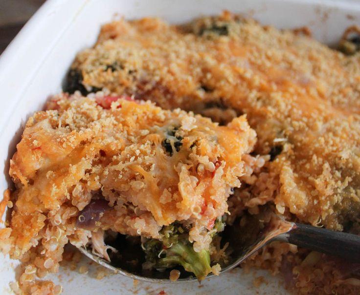 Roasted Broccoli, Chicken and Cheddar Quinoa Bake - Domesticate ME!