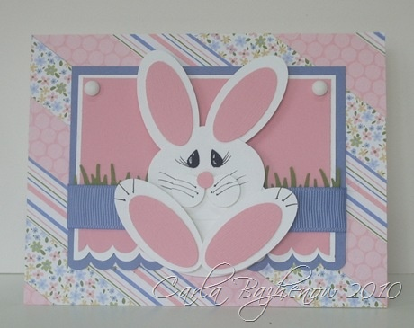 handmade Easter card ... sweet punch art bunny ... background made of strips of patterned papers in paste l colors ... like the layout ... great card!