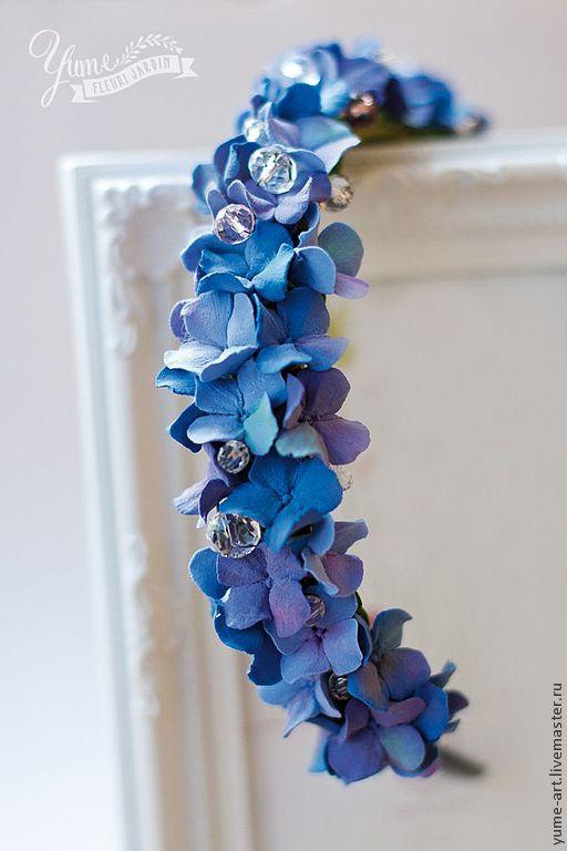 """Купить Ободок с цветами из полимерной глины """"Синяя гортензия"""" - тёмно-синий, ободок для волос"""