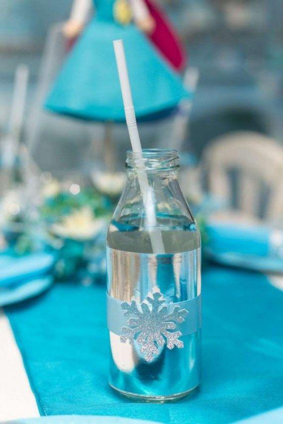 Frozen-Wonderland-Birthday-Party-Snowflake-Bottles #babyshowerideas4u #birthdayparty #babyshowerdecorations #bridalshower #bridalshowerideas #babyshowergames #bridalshowergame #bridalshowerfavors #bridalshowercakes #babyshowerfavors #babyshowercakes