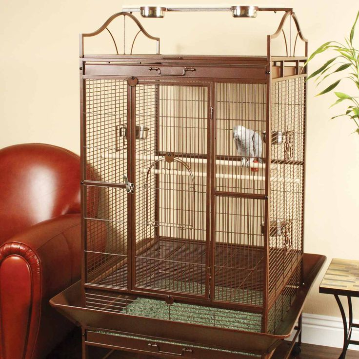 Spacious parrot bird cage that is ideal for small parrots, large parrots or cockatielsPlay top bird cage comes with stand and easy rolling castersFeatures three