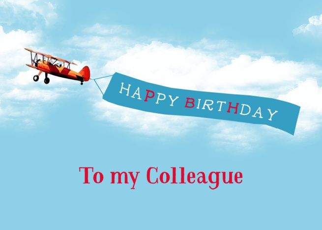 Happy Birthday To My Colleague Vintage Airplane Sky Message Card