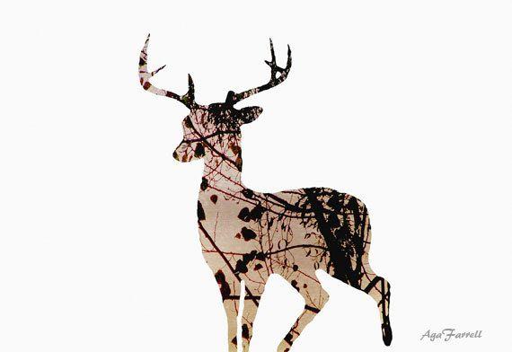 Stampare cervi astratto arte Decor bosco albero di AgaFarrell