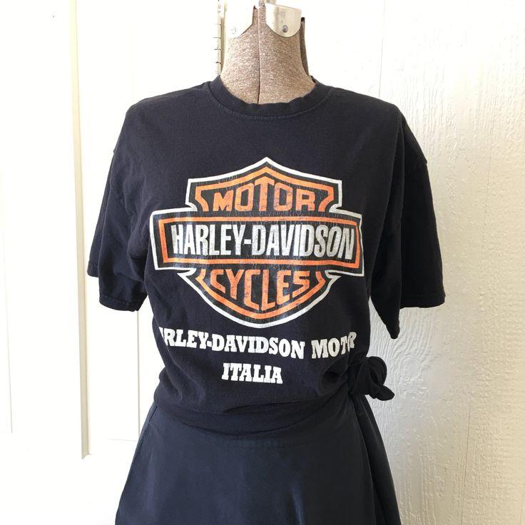 Vintage 70s Harley Davidson Italia Black Cotton Tshirt Medium S268 by TheHunterGatherer on Etsy