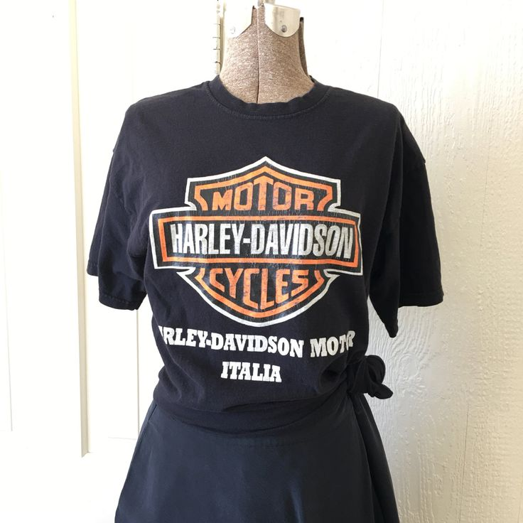 Vintage 70s Harley Davidson Italia Black Cotton Tshirt Medium S268 by TheHunterGatherer on Etsy