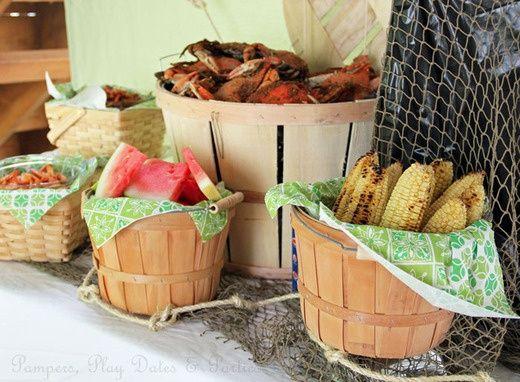 shrimp boil party | Crab Boil & Seafood Themed Events / Crab boil party setup- using apple ...
