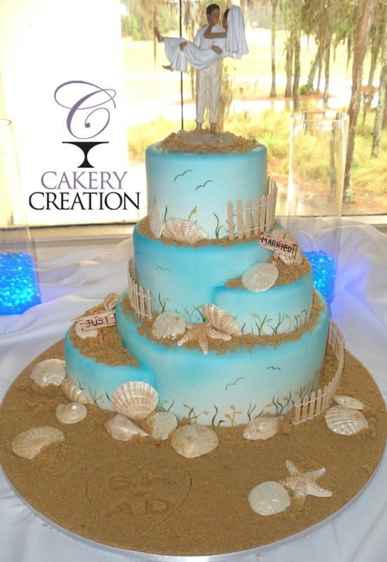 Amazing Beach Wedding Cake By Cakery Creation In Daytona