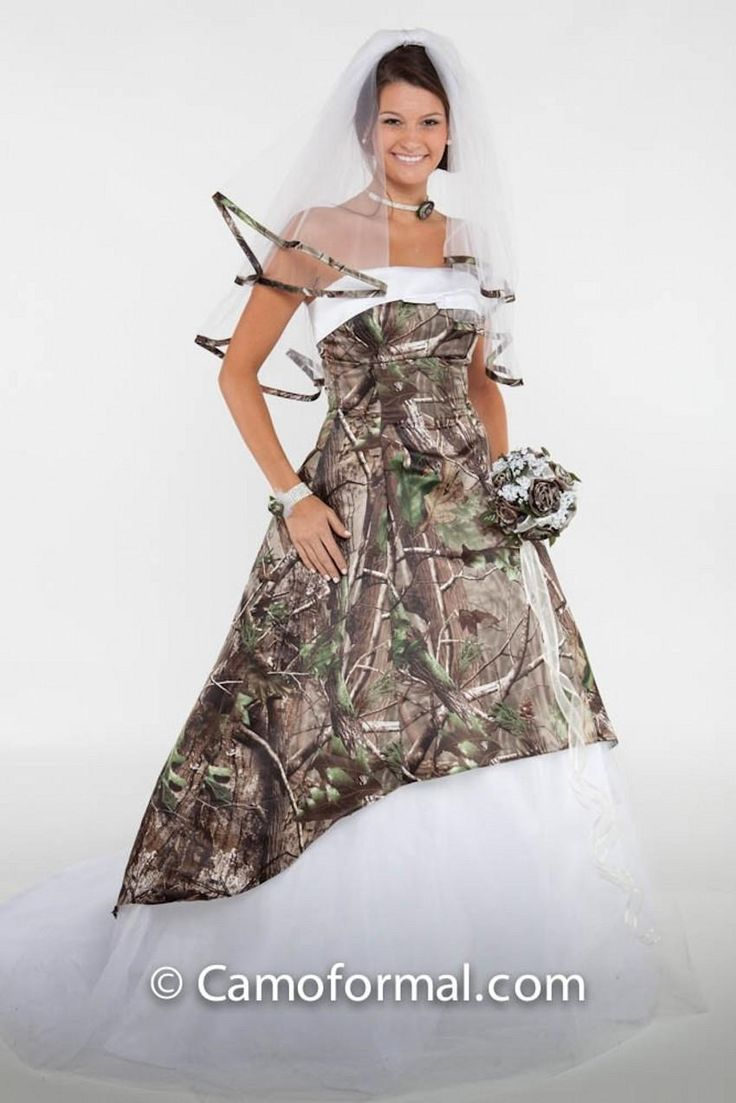 Fabulous  Camouflage Ball Gown Wedding Dresses Srapless Neckline Lace up Back Sweep Train Tulle Plus Size Camo Bridal Gowns