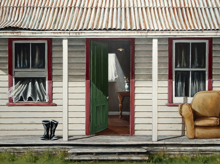 The Old Front Porch - complete with gumboots and sofa! By Graham Young. Artprints available from www.imagevault.co.nz