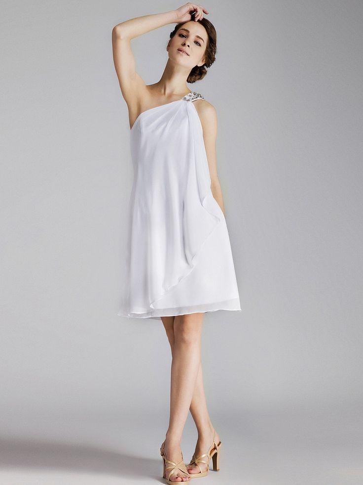 Jeweled One-Shoulder Chiffon Little White Dress