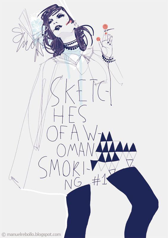 Manuel Rebollo. Illustration & Design: Sketches of a woman smoking #1