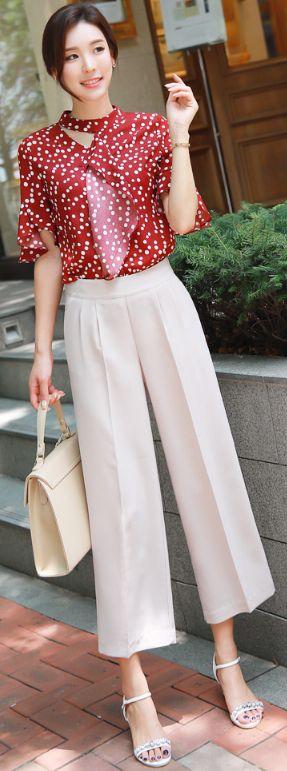 StyleOnme_Pintuck Detail Ankle Length Wide Leg Pants #beige #wideleg #slacks #koreanfashion #kstyle #kfashion #seoul #summerlook #elegant #pants
