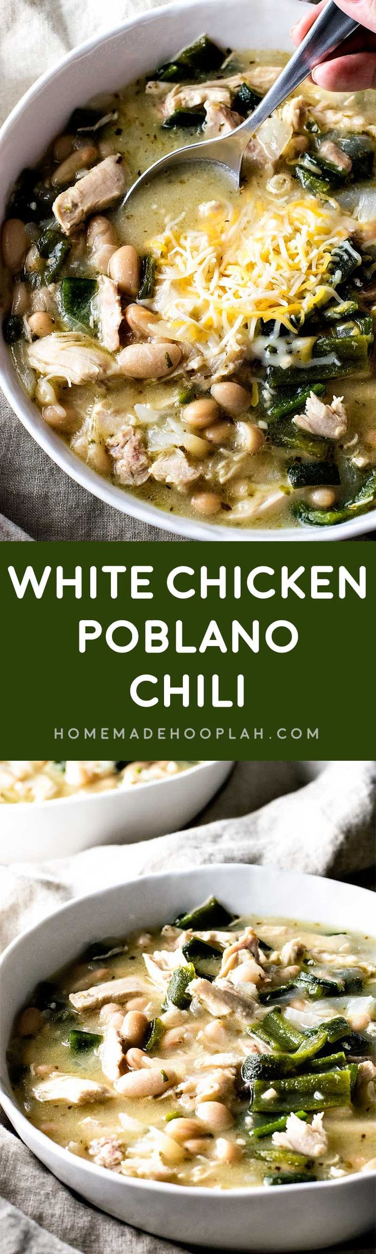 White Chicken Poblano Chili! Boiled whole chicken, homemade chicken broth, tender chiles, and flavorful cannellini beans make this white chicken poblano chili an at-home favorite! | HomemadeHooplah.com