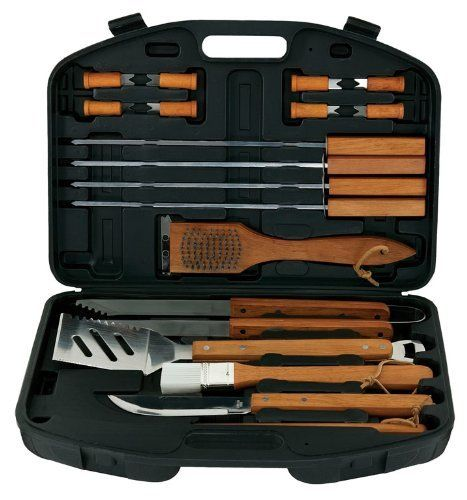 Mr. Bar-B-Q 94001X 18-Piece Stainless-Steel Barbecue Set with Storage Case by MR. BAR-B-Q. $19.00. Also includes basting brush, grill brush, all-purpose knife, 8 corn holders, and 4 skewers. Measures approximately 12-2/5 by 17-2/5 by 2-4/5 inches. Includes barbecue fork, tongs, and slotted spatula with scraper and bottle opener. Barbecue set provides 18 grilling tools and a handled plastic storage case. Gleaming stainless-steel construction; riveted wood handles with hangi...