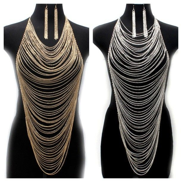 Sexy body jewelry / necklace body chain  www.mirabellacouture.com