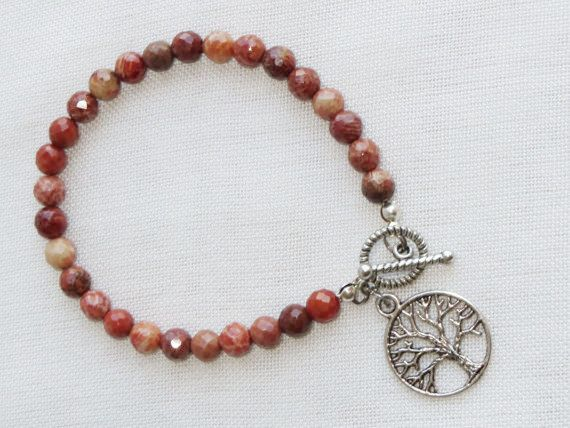 Fossil Coral Bracelet  Tree of Life Charm  Faceted by Thielen, $16.95