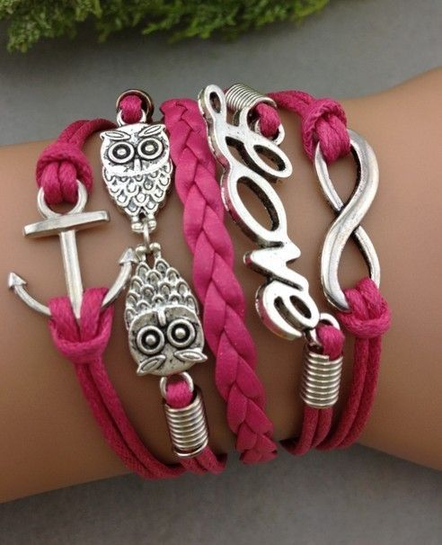 Enter to win: Owl anchor love infinity leather Charm Bracelet. | http://www.dango.co.nz/s.php?u=YB7A3Dby2343