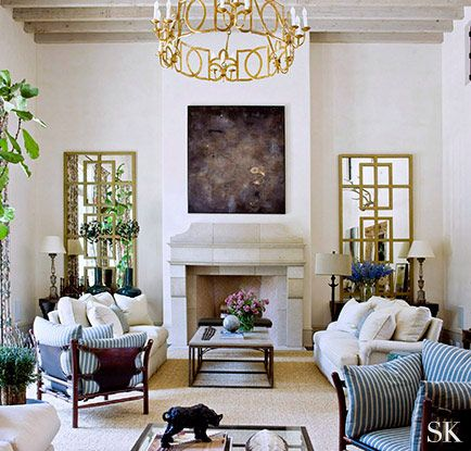 | z | symmetry & form.  Tall mirrors over small chests flank fireplace.  Suzanne Kasler