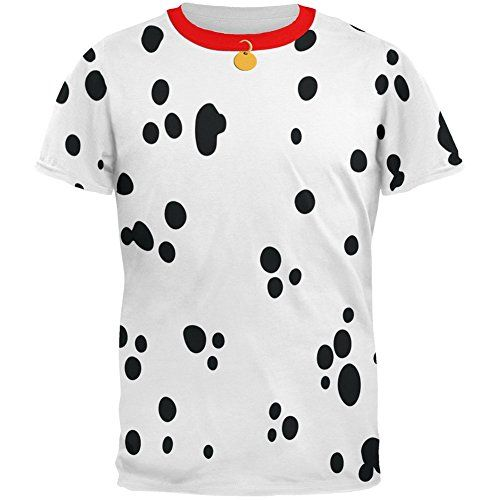 Dog Dalmatian Costume Red Collar All Over Adult T-Shirt - Small Animal World