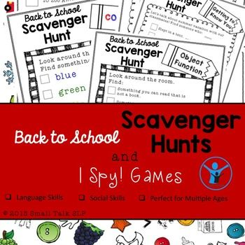 Looking for a high-interest back to school activity that targets multiple goals and is print-and-go? Then this is the perfect one for you!Back to School Scavenger Hunts and I Spy Games is the perfect combination of fun, flexibility and challenge.  It includes:2 colorful I Spy!