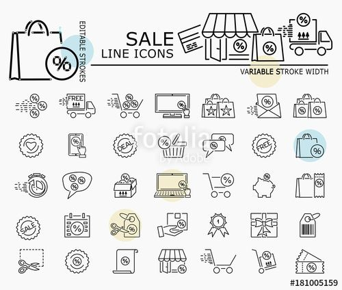 "Download the royalty-free vector ""Sale line icons with minimal nodes and editable stroke width and style"" designed by dropix at the lowest price on Fotolia.com. Browse our cheap image bank online to find the perfect stock vector for your marketing projects!"
