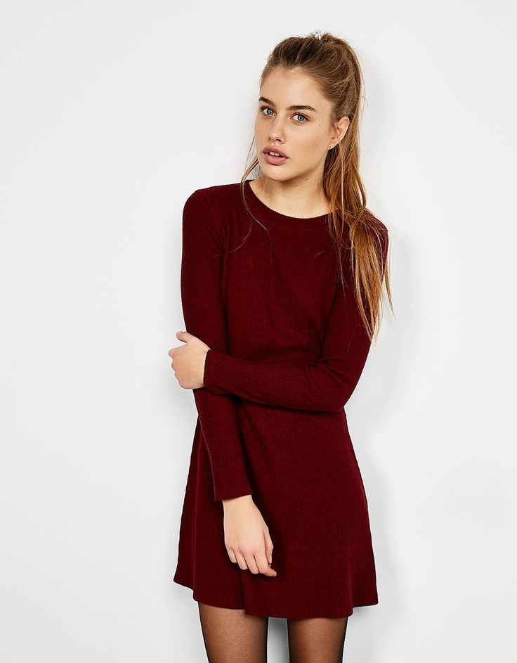 Long-sleeve ribbed dress. Discover this and many more items in Bershka with new products every week