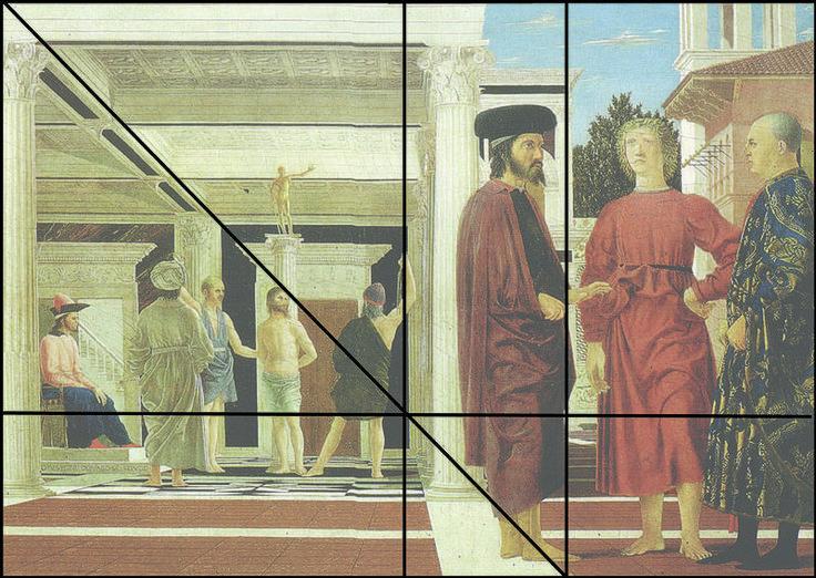 Construction de la hauteur de la ligne d'horizon du tableau de La Flagellation du Christ de Piero della Francesca