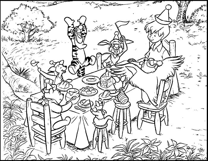 Winnie The Pooh Birthday Party Color Page Disney Coloring Pages Plate Sheetprintable Picture