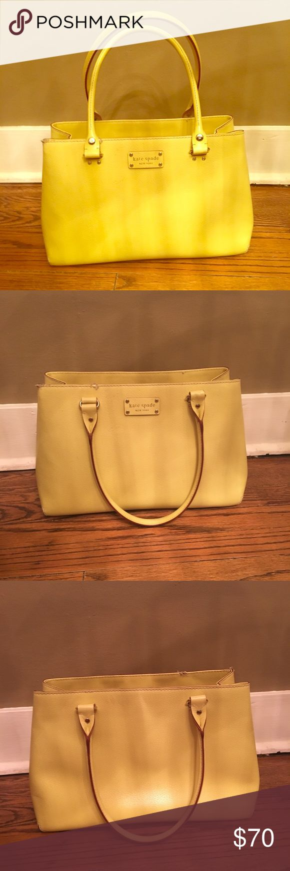 ♠️ Kate Spade Handbag ♠️ This gorgeous Kate Spade bag/purse is very bright yellow, almost neon (the first photo is the most accurate color). Beautiful pink and red polka dot silky interior that is VERY clean. Gently used, little to no wear. However when I first purchased this I had a puppy who gnawed on the front edge in two spots!! The last photo is a closeup but honestly it's not that bad (reflected in price). kate spade Bags Shoulder Bags