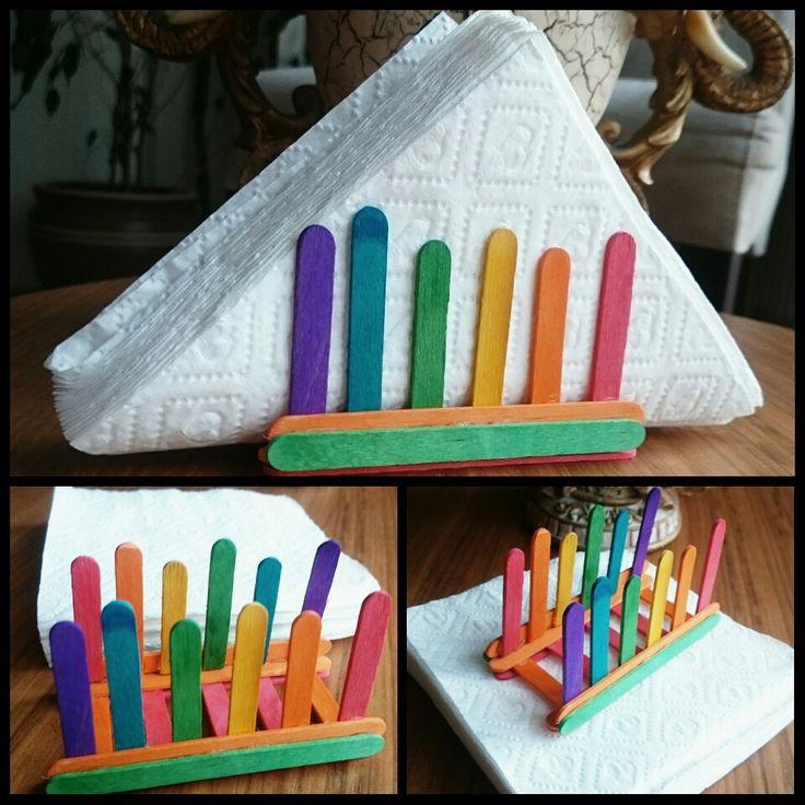 popsicle stick craft, napkin holder