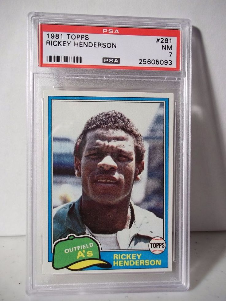 1981 topps rickey henderson psa nm 7 baseball card 261