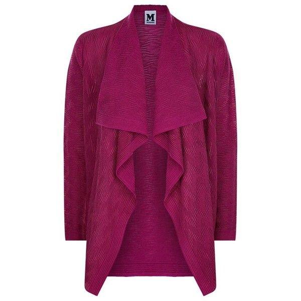 M Missoni Tonal Zig Zag Waterfall Cardigan (£265) ❤ liked on Polyvore featuring tops, cardigans, purple top, drapey tops, waterfall top, drapey cardigan and draped waterfall cardigan