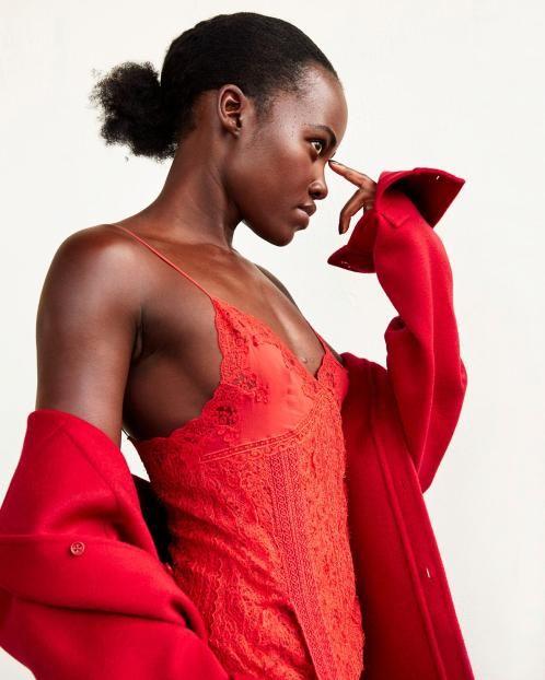 Lace and silk dress,£3,460, Ermanno Scervino. Cashmere shirt, £2,395, Ralph Lauren Collection