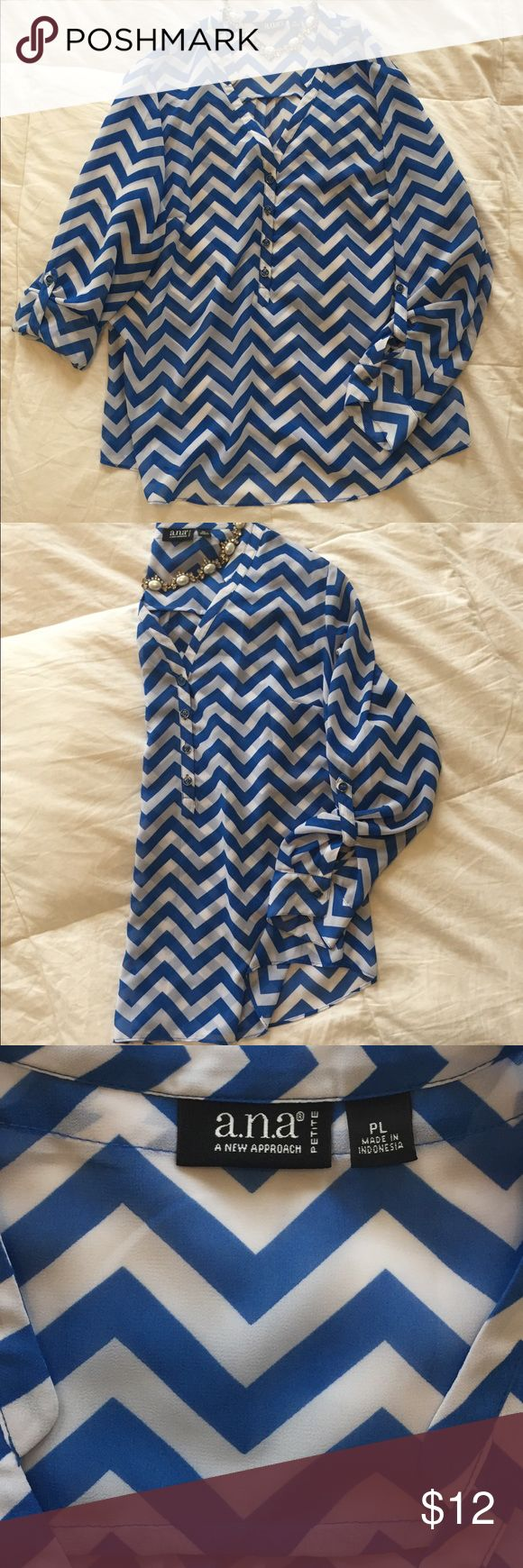 Comfy chevron blouse Blue and white chevron blouse. Size Petite Large. Great condition. Pet and smoke free home. a.n.a Tops Blouses