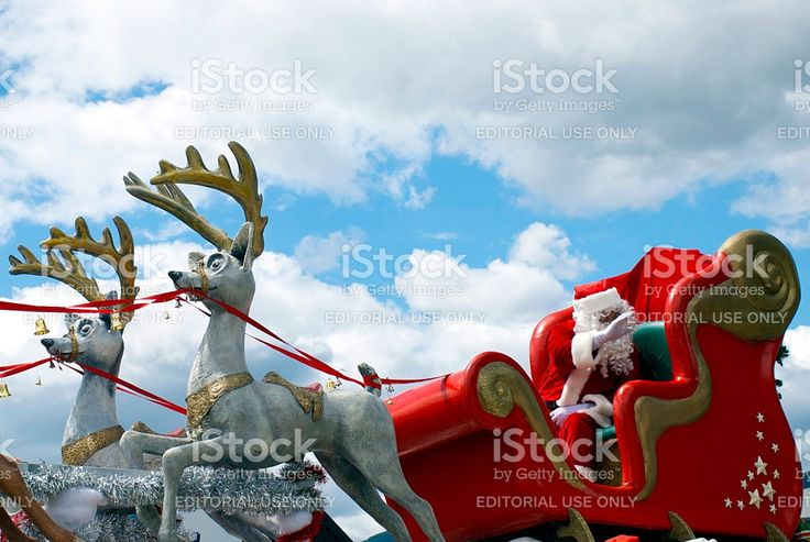 Father Christmas in his Sleigh at the Richmond Santa Parade royalty-free stock photo