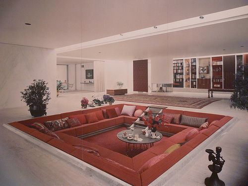 can someone PLEASE bring these back?! coolest thing ever!... 1960s architecture, trend, house pit, living room, image