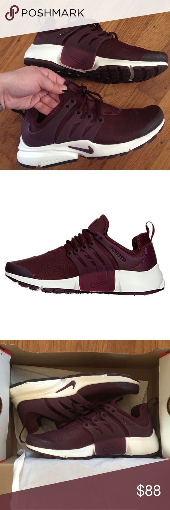 Maroon Nike Air Presto Premium Night Running Shoes Maroon Nike running shoes, in great condition. Only wore a few times. Minimal scratches, but can only see up really close. Size women's 5 or 2.5 youth. Run a tiny bit small, but your typical Nike sizing. I am a standard 5.5 in Nike so these are unfortunately slightly too small for me, I'm bummed because they're so cute. Comes with box! Price is somewhat negotiable, feel free to make an offer! Nike Shoes Athletic Shoes