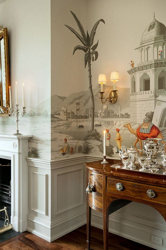 thefoodogatemyhomework:  Love the orange and red in this otherwise grisaille Gracie wallpaper. Gorgeous sideboard and silver coffee set too.