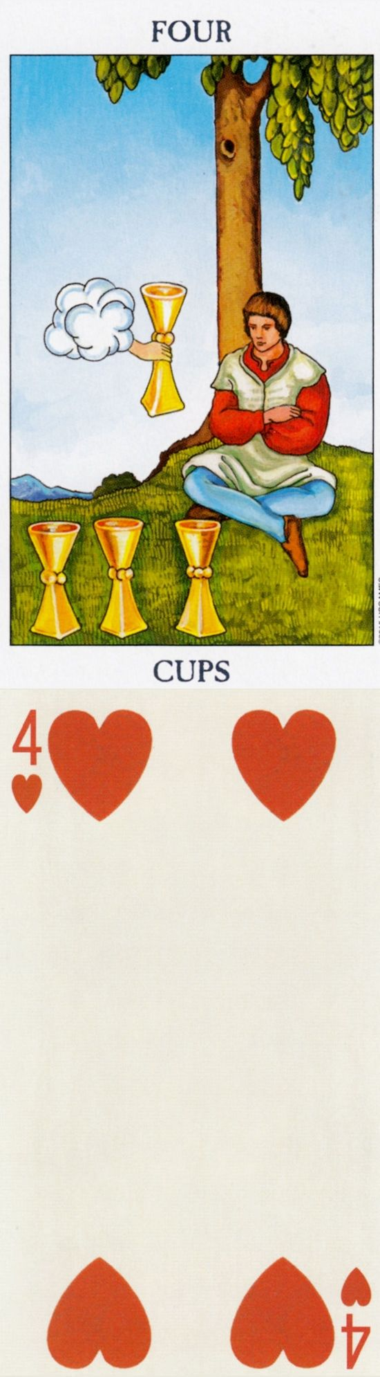Four of Cups: ignoring potential joys and boredom (reverse). Radiant Tarot deck and Brut Tarot Tarot deck: astrology tarot reading free, tarot for dummies and lotus tarot online reading. Best 2018 paganism art and wiccan marvel. #astrologyonline
