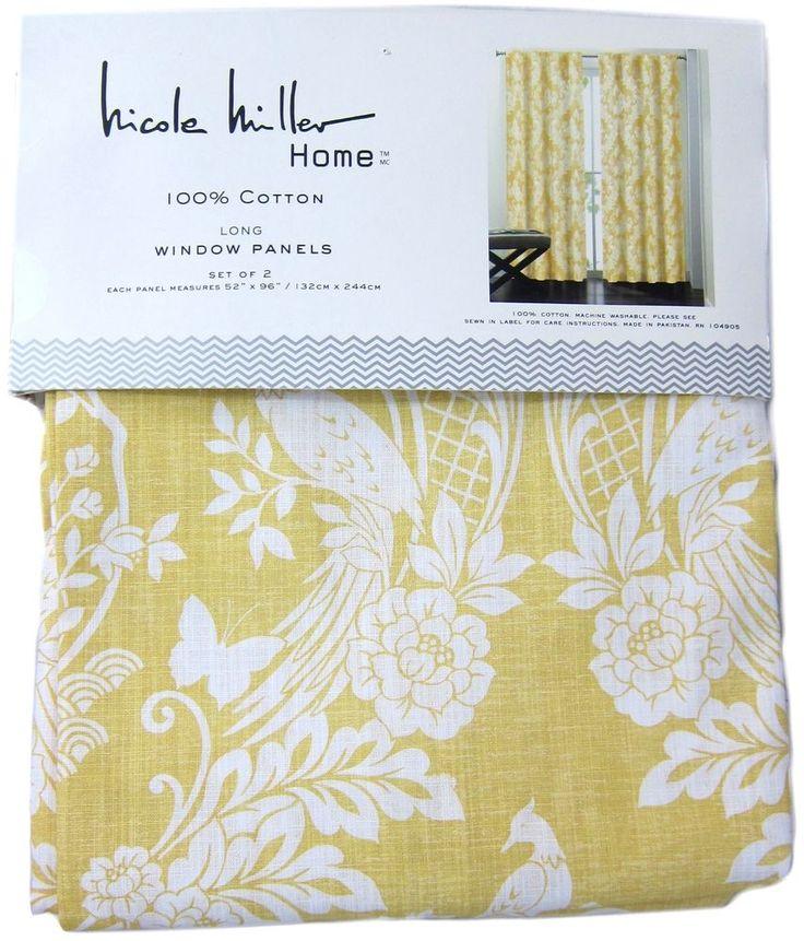 Nicole Miller Yellow Japanese Bird Window Curtain Panel