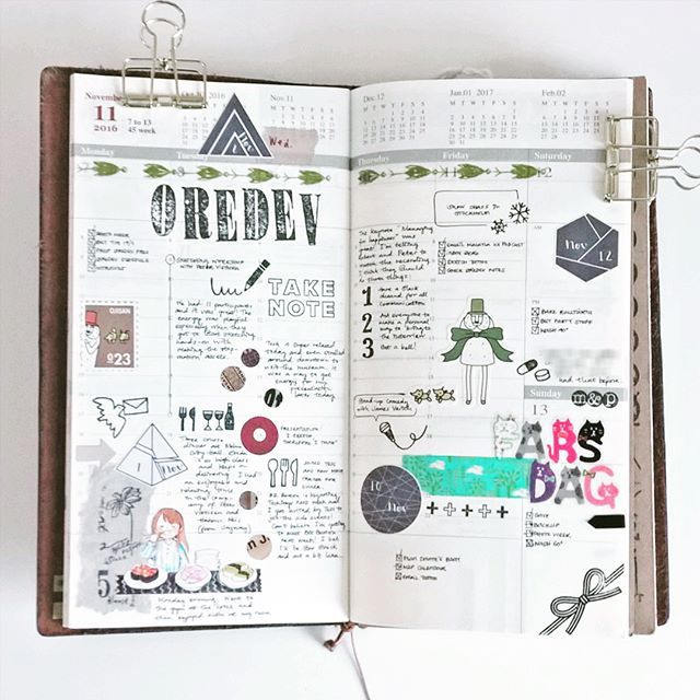 Last week in my Midori Traveler's notebook. What I used to decorate: stamps (some from @_sakuralala_), washi, and stickers.