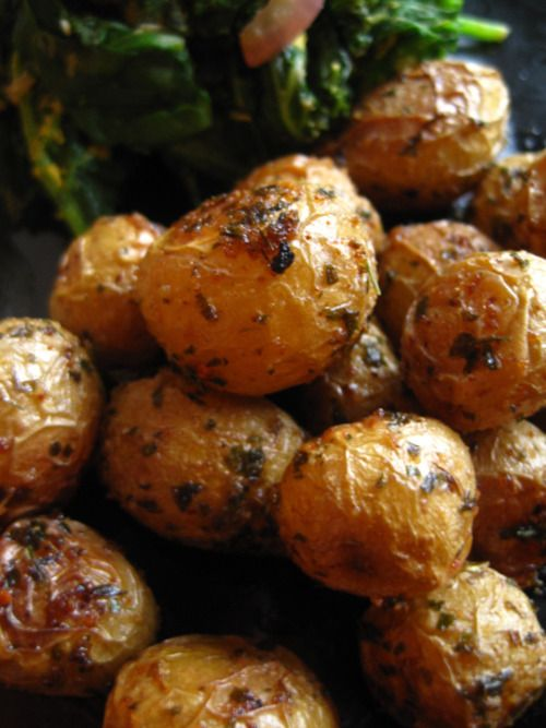 Roasted mini yukon gold potatoes. Tossed with olive oil, garlic granules, dried parsley, and sea salt. Roasted at 325 for 25-35 minutes till soft and golden brown