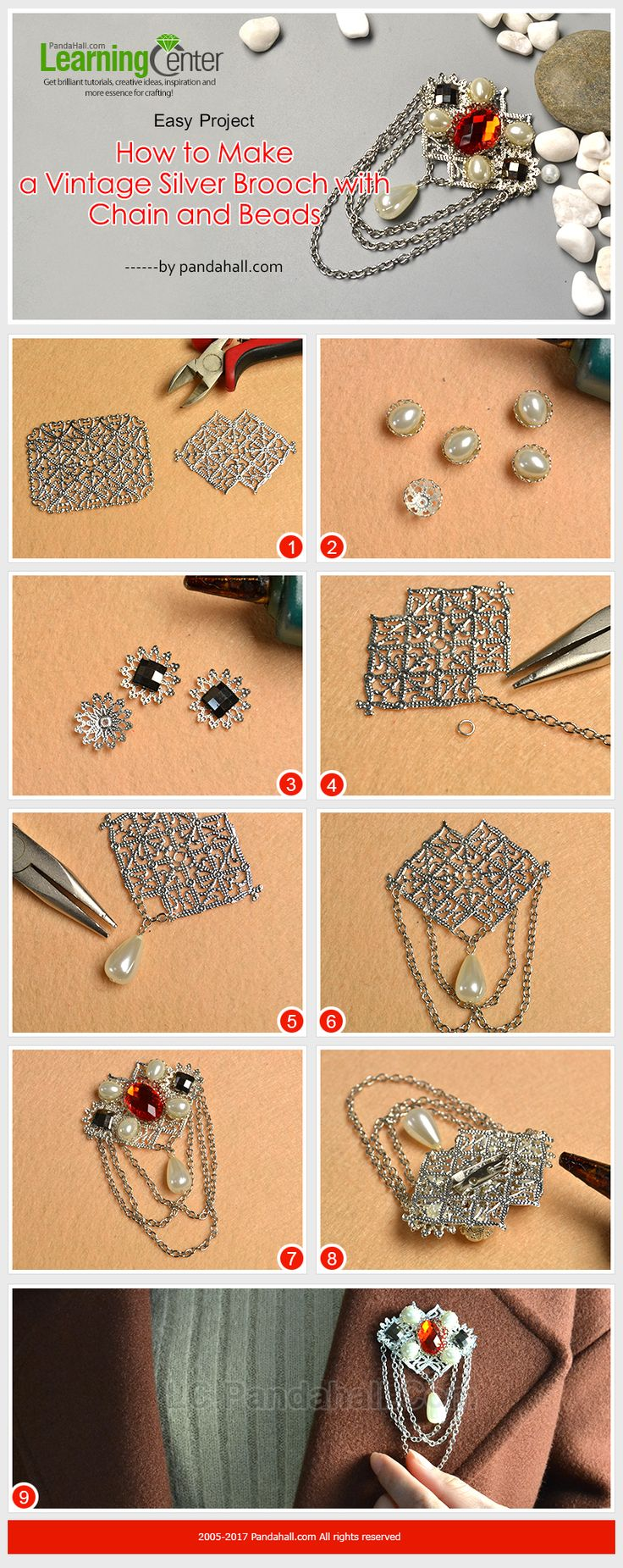 Easy Project - How to Make a Vintage Silver Brooch with Chain and Beads