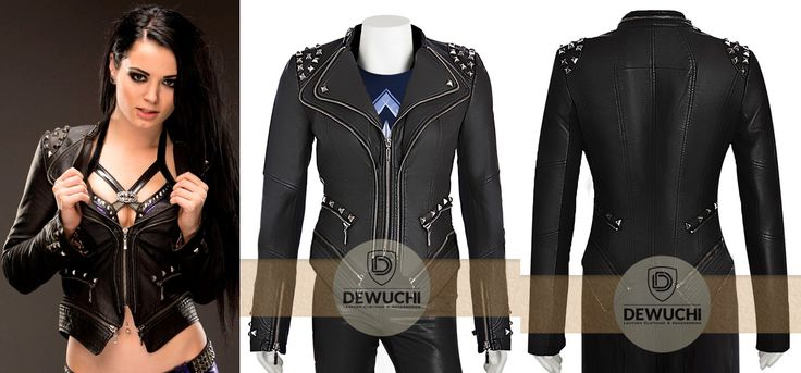 """Inspired from Professional Wrestler and Actress Saraya-Jade Bevis """"PAIGE"""". """"Dewuchi.com"""" Created WWE Diva Paige NXT Black Leather Studded Biker Women Jacket for Females. Made from 100% Soft Synthetic Leather You can Wear This Impressive Women Jacket in All Season, Parties, Casual Wearing, Friend's Outing, Dates, and more. Available at Our Online Store in $ 109.00 Only.  #sarayajadebevis #wrestler #paige #girlsfashion #girlscollection #womenfashion #gorgeous #younggirls #love #happy #clothing"""
