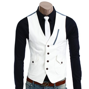 Casual 4 Button Denim Point Vest