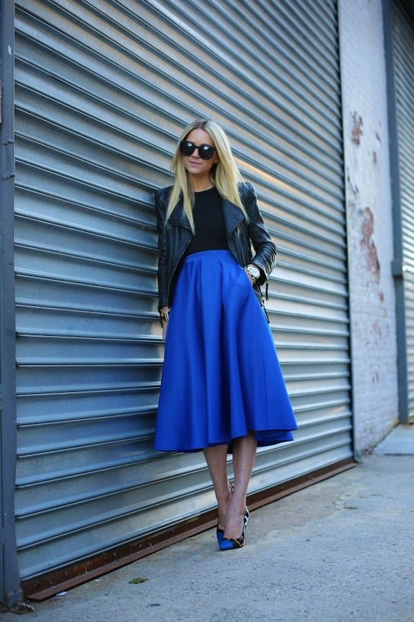 Atlantic-Pacific: cobalt. Midi + moto jacket + leopard shoes = edgy femme:
