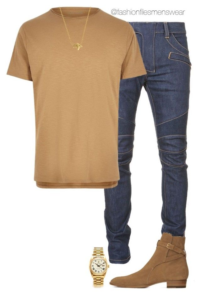 """""""Untitled #2442"""" by highfashionfiles on Polyvore featuring Balmain, River Island, Yves Saint Laurent, Rolex, men's fashion and menswear"""