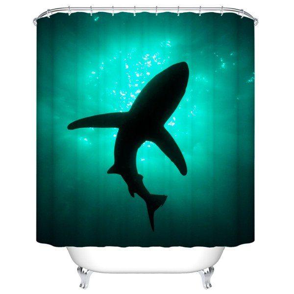 Ocean Animal Print Mildewproof Waterproof Bathroom Curtain - Deep Green
